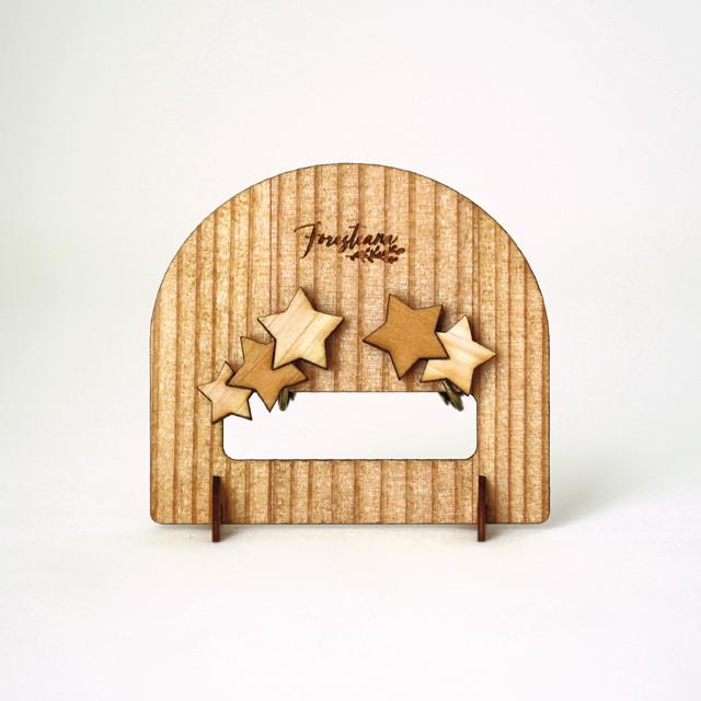 木のアシメントリー星イヤリング ディスプレイスタンド