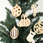 木製クリスマスオーナメント6枚セット(ハリネズミ)