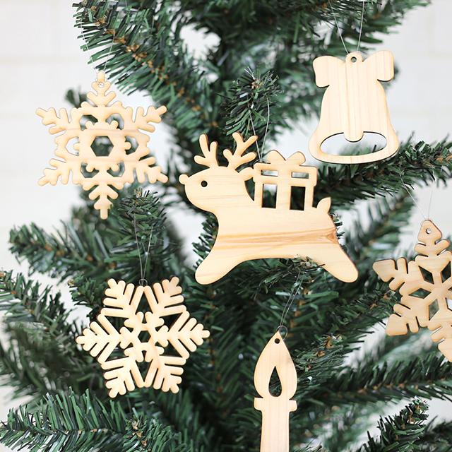 木製クリスマスオーナメント6枚セット(トナカイ)