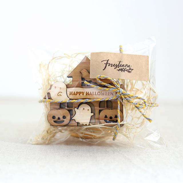 パッケージ ハロウィンのお家 木製ハンコスタンド