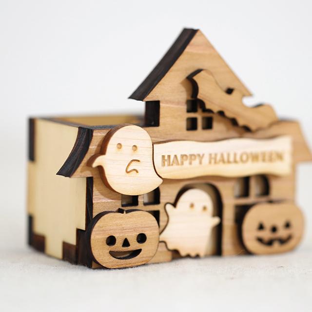 アップ ハロウィンのお家 木製ハンコスタンド