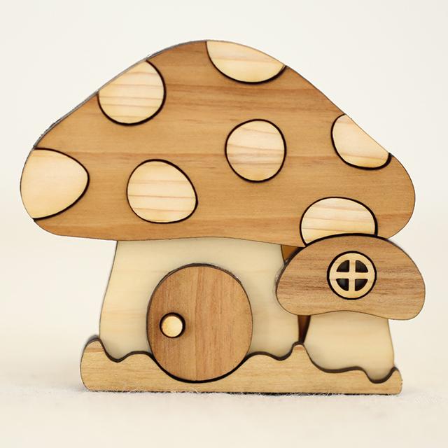 きのこの家の木製印鑑スタンド アップ
